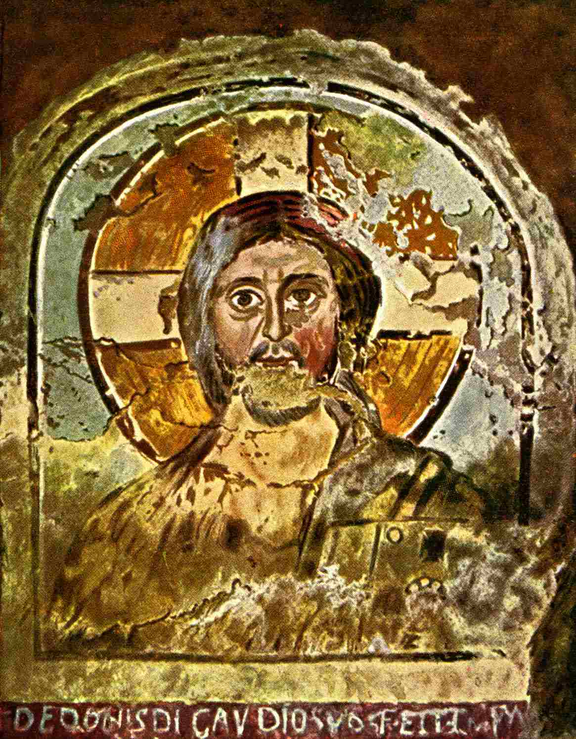 One of many early depictions of Jesus. This one's a fresco.