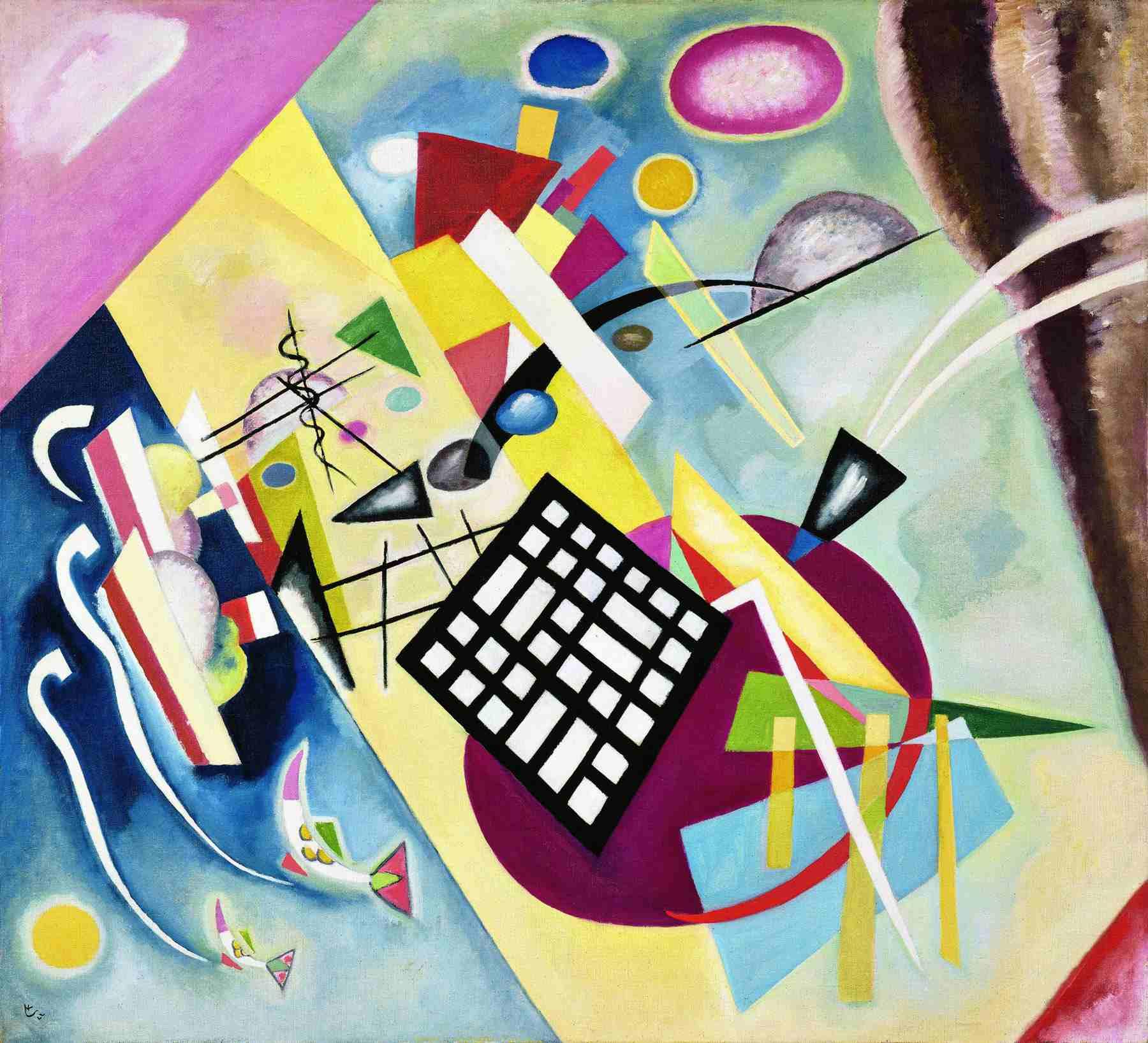 Wassily Kandinsky (Russian, 1866-1944) Wassily Kandinsky (Russian, 1866-1944). Black Grid (Schwarzer Raster), 1922. Oil on canvas. 37 3/4 x 41 11/16 in. (96 x 106 cm). Bequest of Nina Kandinsky, 1981. Musée national d'art moderne, Centre Pompidou, Paris.