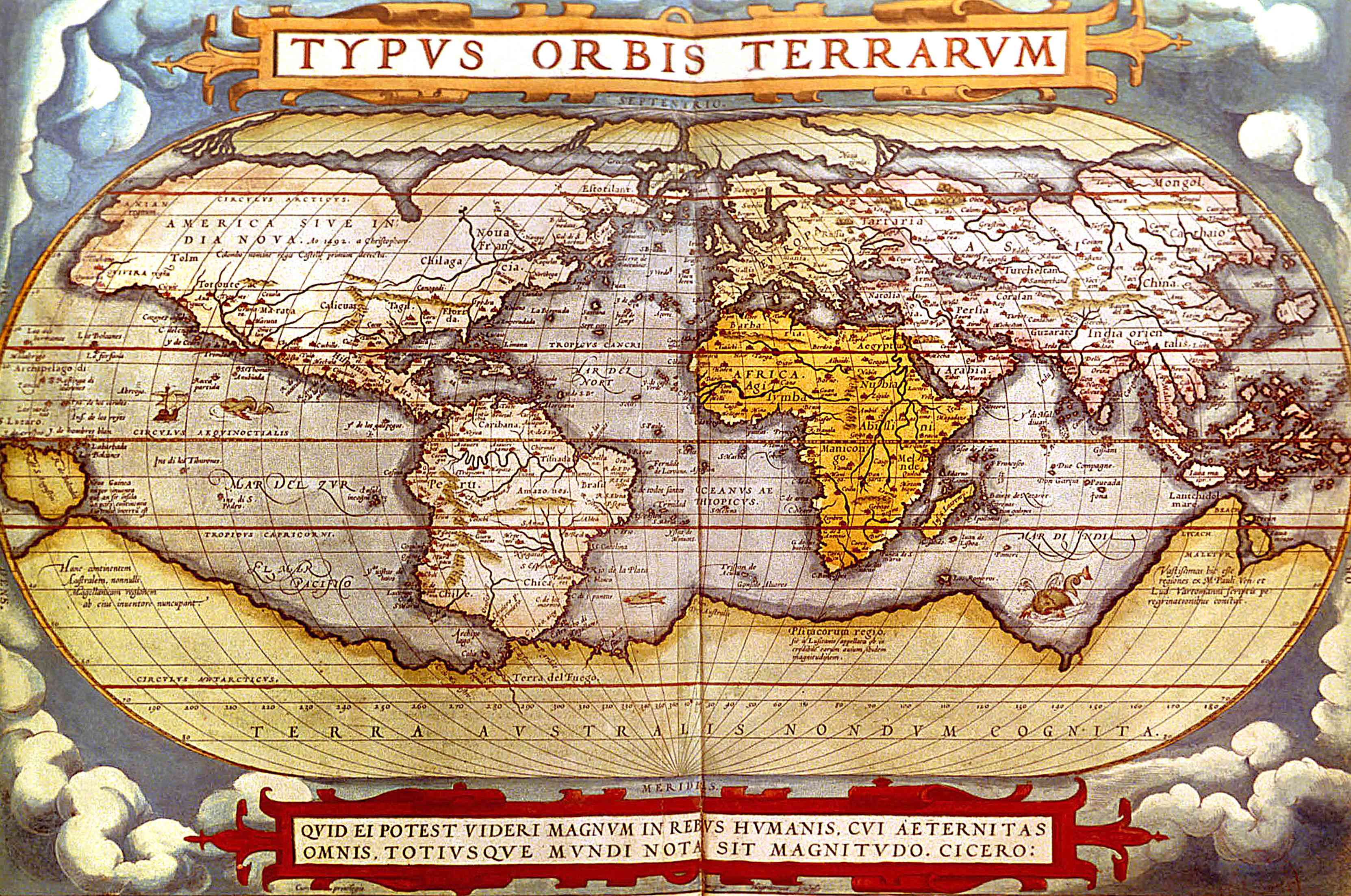 World map from 1570 atlas