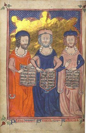Plato, Seneca, and Aristotle -Illuminated Medieval Manuscript