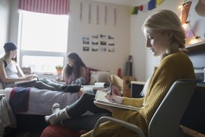 Female college students studying in dorm room