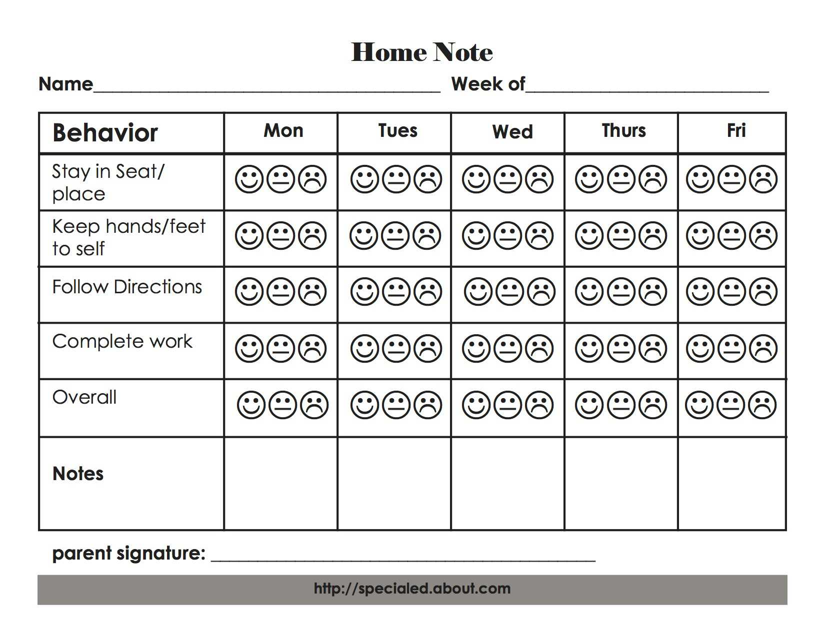 Weekly Elementary Home Note