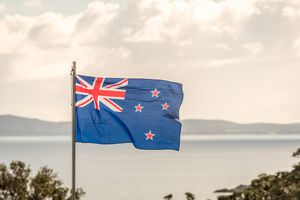 New Zealand Flag in the wind with the sea in the background