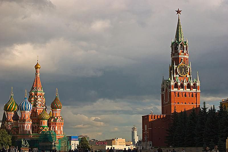 Colorful onion domes at St Basil's Cathedral in Red Square, Moscow, Russia