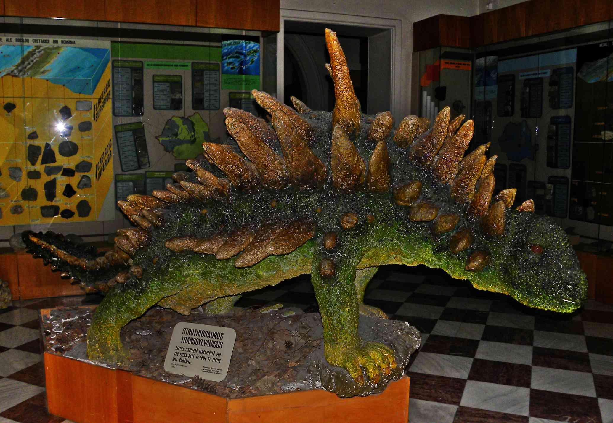 Model of struthiosaurus on display.
