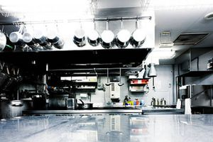 Commercial kitchen full of Type 201 stainless steel cookware and appliances