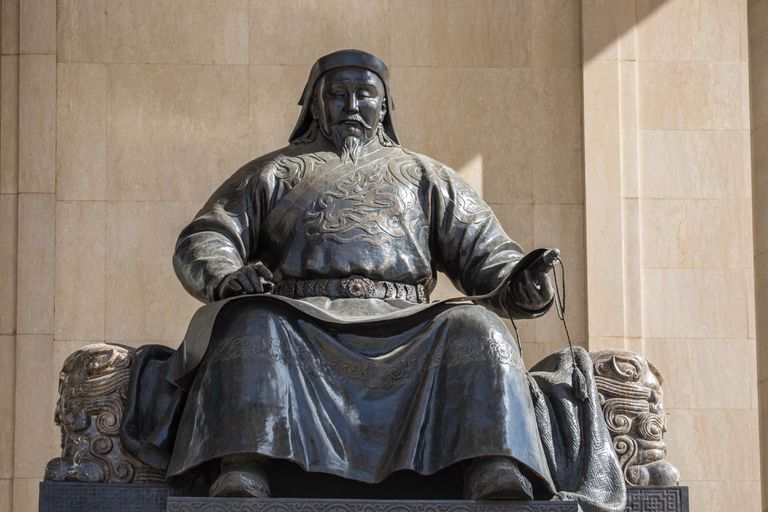 Statue of Kublai Khan with scroll in Mongolian Government Palace.