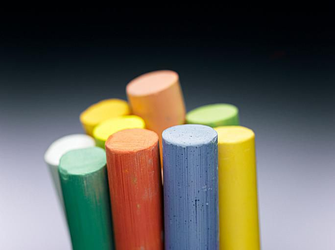 You can make colored chalk yourself.