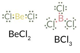 This is the berylium chloride and boron chloride Lewis dot structure