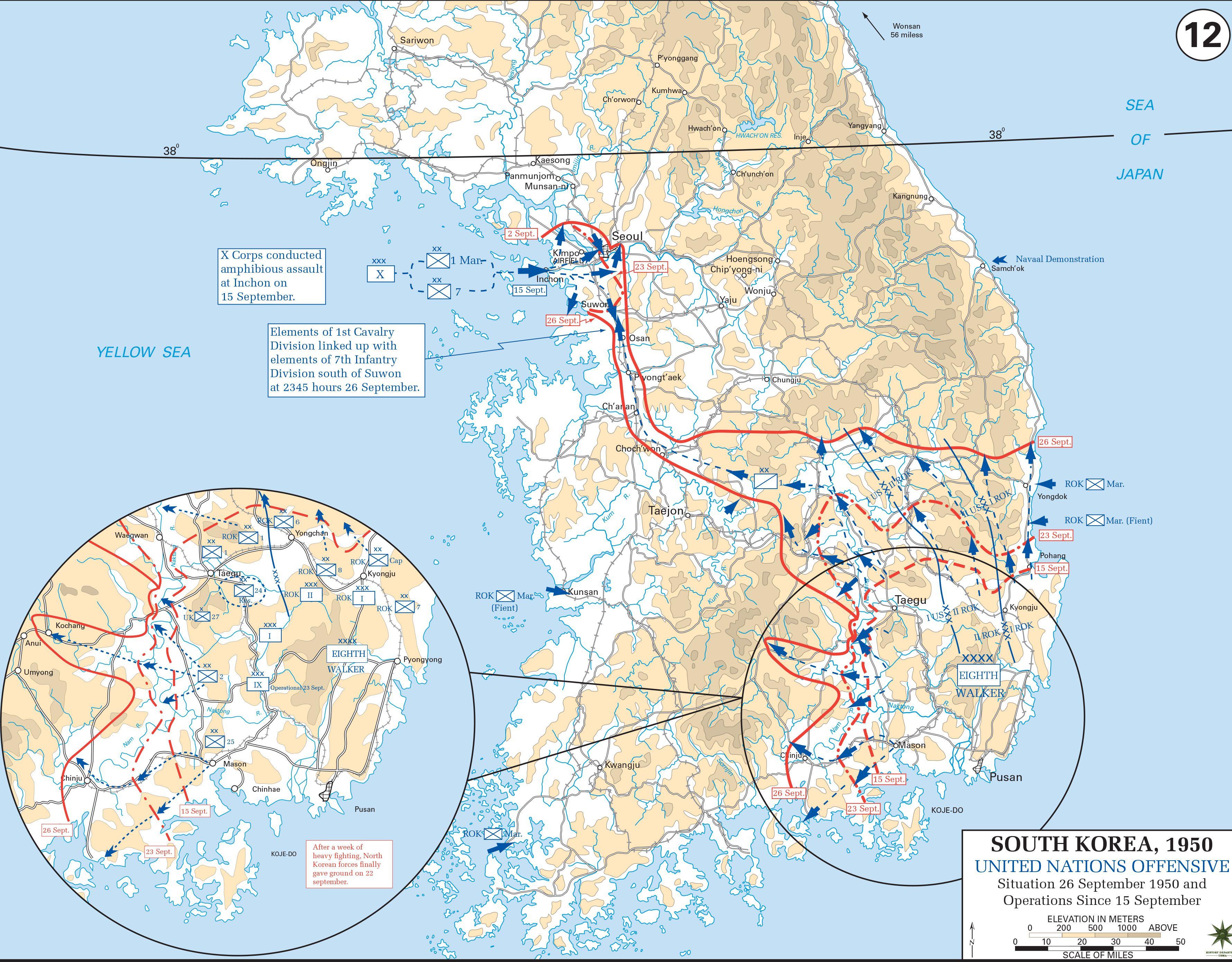 Map of Inchon Invasion and Pusan Perimeter Breakout