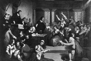 Circa 1692, The trial of George Jacobs for witchcraft at the Essex Institute in Salem, Massachusetts