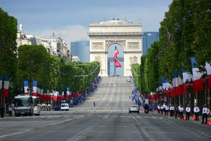 Avenue des Champs-Elysees and arc de triomphe for Bastille day-French National HolidayParis, France, Europe