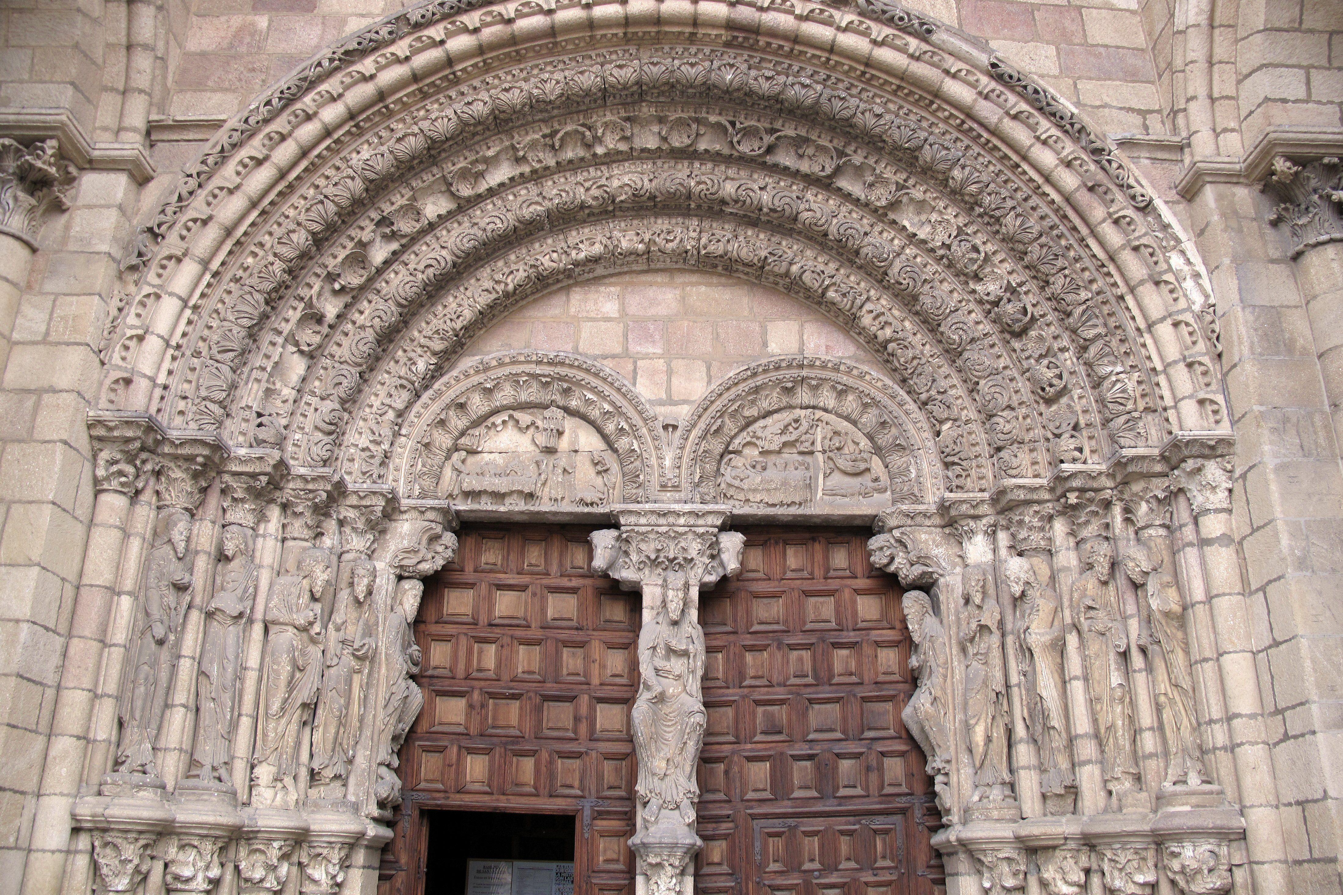 Arched Portico of the Romanesque Basilica de San Vicente, Avila, Spain