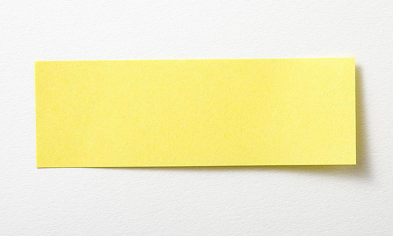 Post-it för reduktion av text kan vara kort som en viktig mening på även det minsta utrymmet