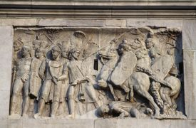 Bas-relief depicting Roman cavalry charge, Rome, Italy