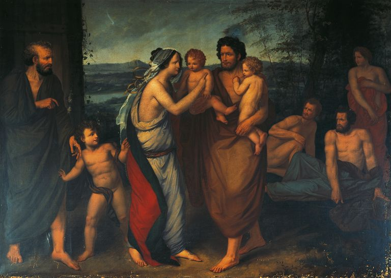 Faustulus bringing Romulus and Remus to his wife Lucrezia, by Felice Cattaneo