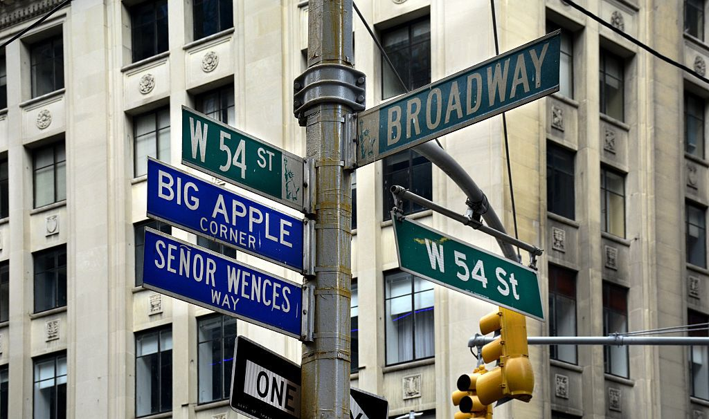Street signs at the corner of Broadway and 54th Street in New York City identify the streets' official and honorary names.