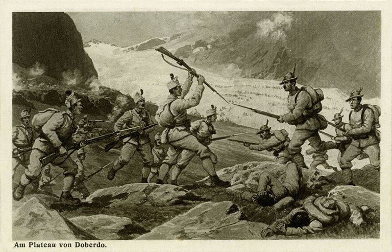 World War I attle in the mountains of Tyrol