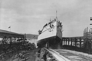 The SMS Tegetthoff a dreadnought battleship of the Tegetthoff class of the Austro-Hungarian Navy is launched down the slipway of the Stabilimento Tecnico Triestino yard in Trieste on 21 March 1912 at Trieste, Austria.