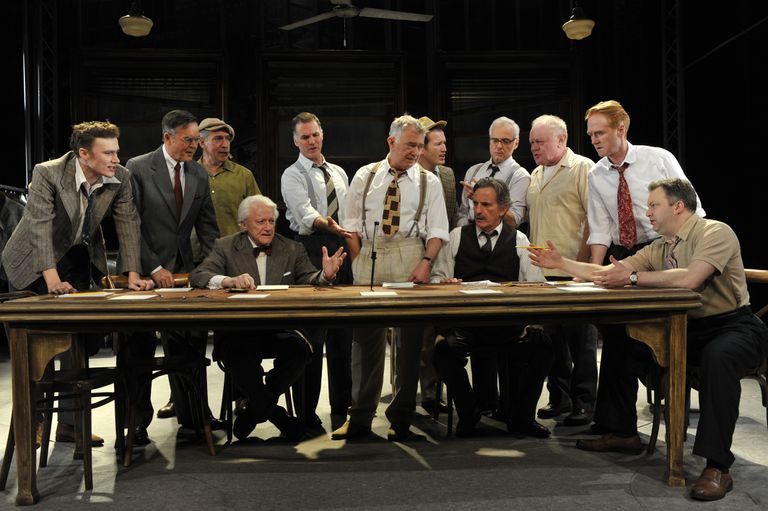 "Reginald Rose's ""Twelve Angry Men"" directed by Christopher Haydon at the Garrick Theatre in London"