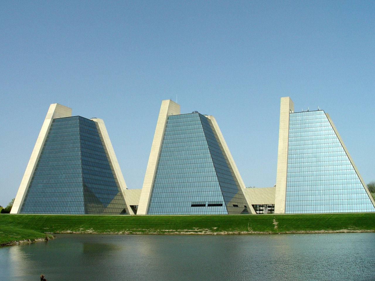 Three pyramid structures of glass, Kevin Roche-designed College Life Insurance Company