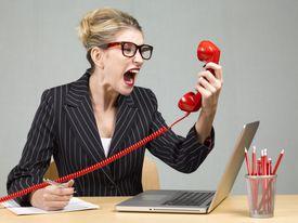 woman shouting at phone