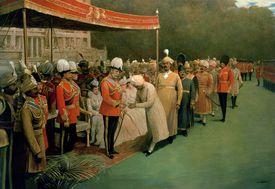 Edward VII receiving Maharajahs and Dignitaries Prior to his Coronation
