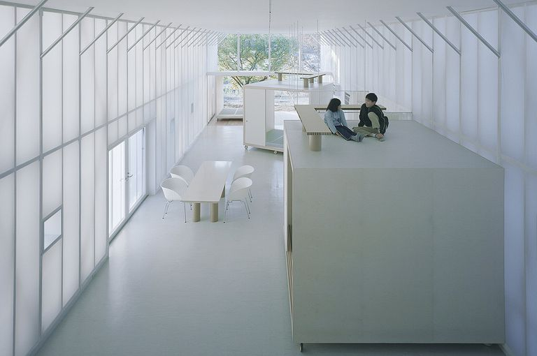 Two children atop a container room, Inside the Shigeru Ban-Designed Naked House, 2000, Saitama, Japan