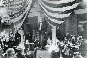 William McKinley speaking to a crowd, 1900