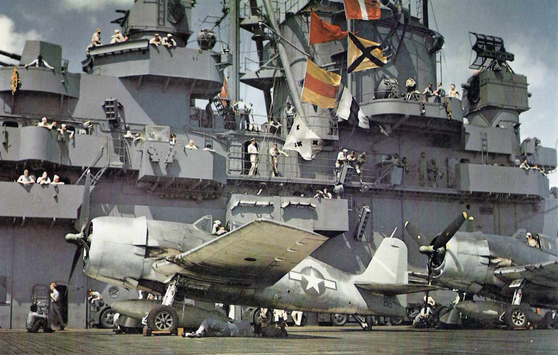 USS Yorktown (CV-10) conducting air operations during World War II.