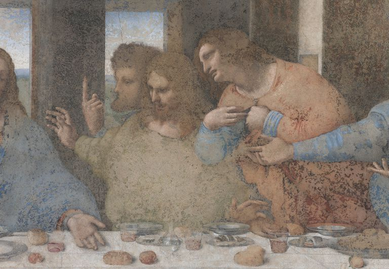 Apostles Thomas, James the Greater and Philip, detail from The Last Supper or Cenacolo, 1495-1497, by Leonardo da Vinci (1452-1519), after its 1999 restoration, Cenacolo Vinciano Convent of Santa Maria delle Grazie, Milan, Italy