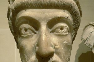 Marble bust of Empreror Theodosius II, 5th c., in the Louvre Museum