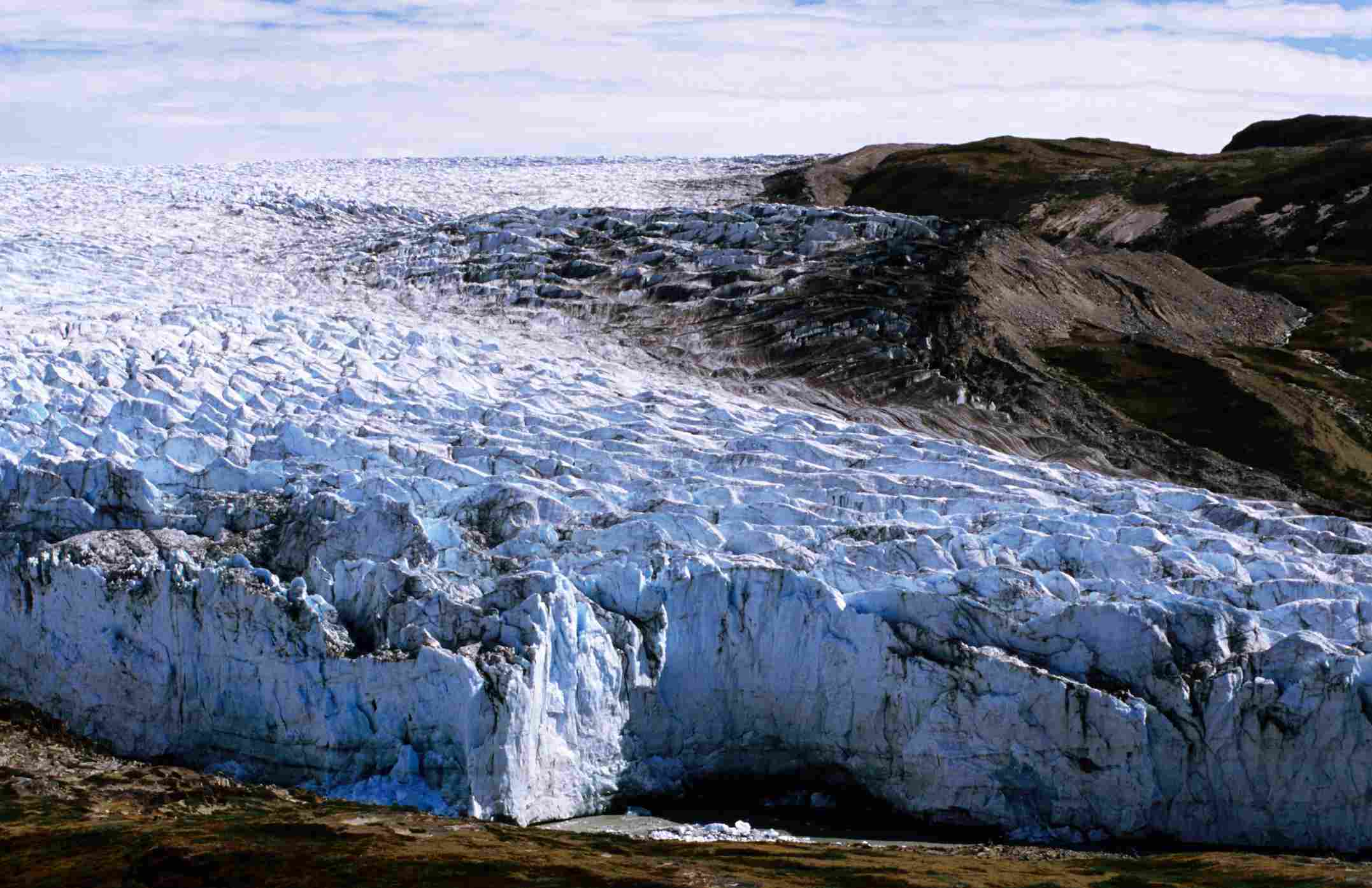 Continental arctic air forms over glacial landscapes like this Greenland ice-cap