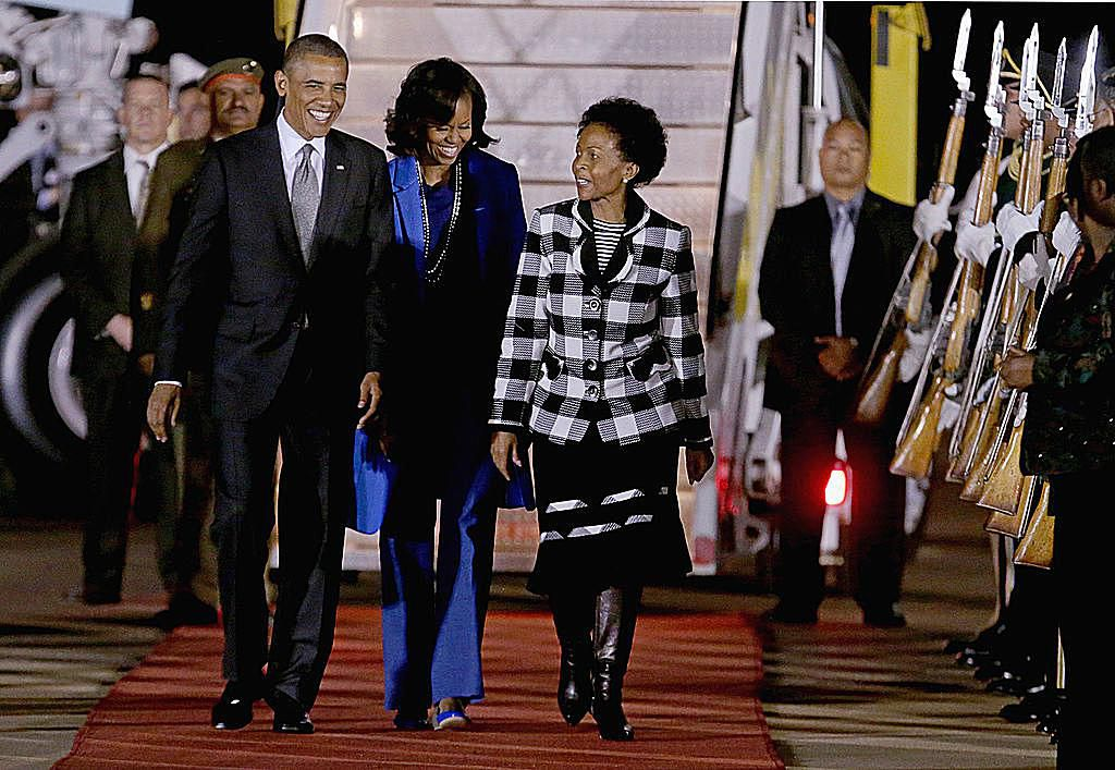 Michelle and Barack Obama in Pretoria, South Africa with Minister of International Relations Maite Nkoana-Mashabane