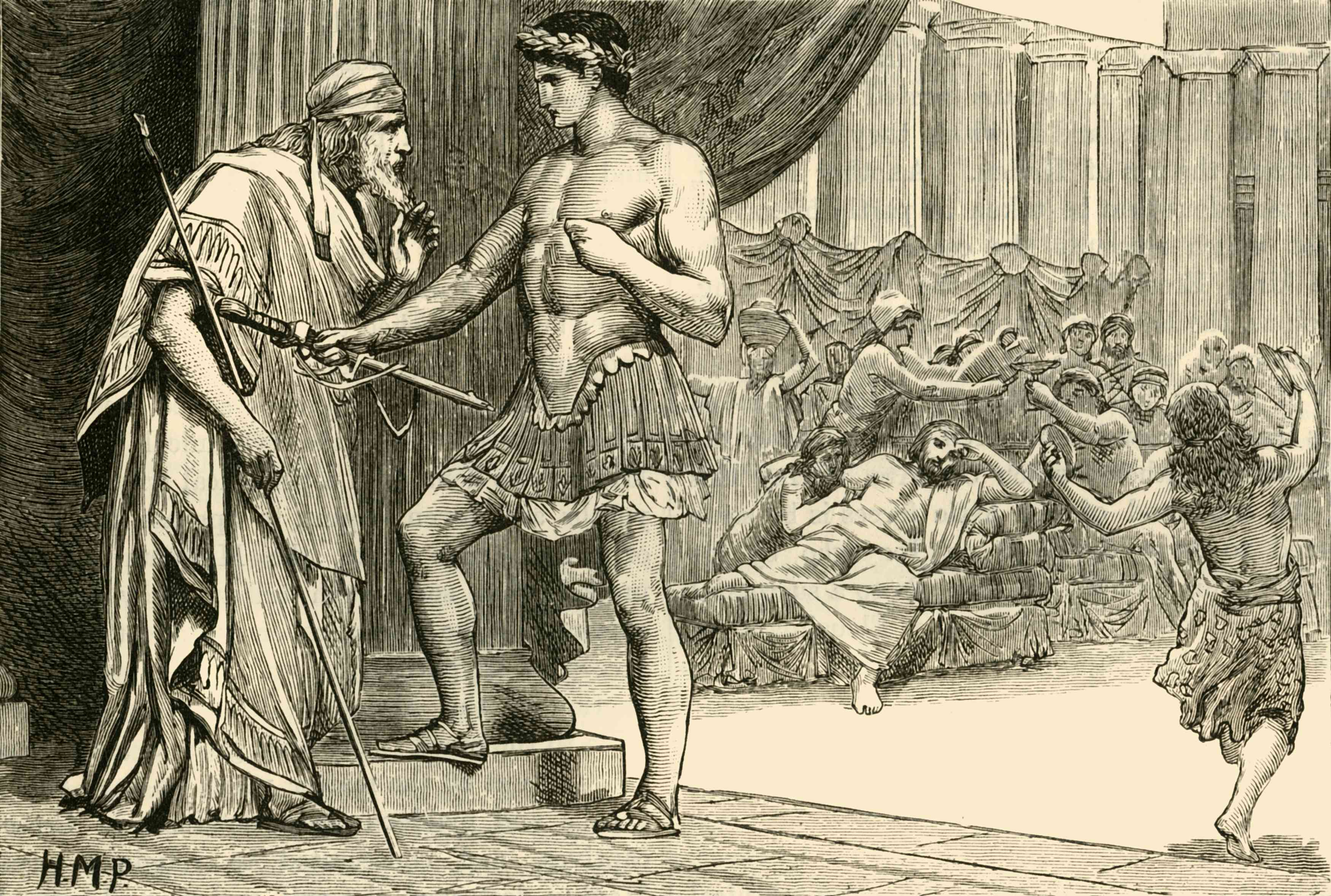 Theseus Identifies Himself to Aegeus, 19th century