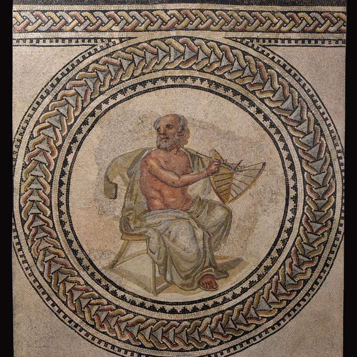 Mosaic depicting Anaximander with a sundial