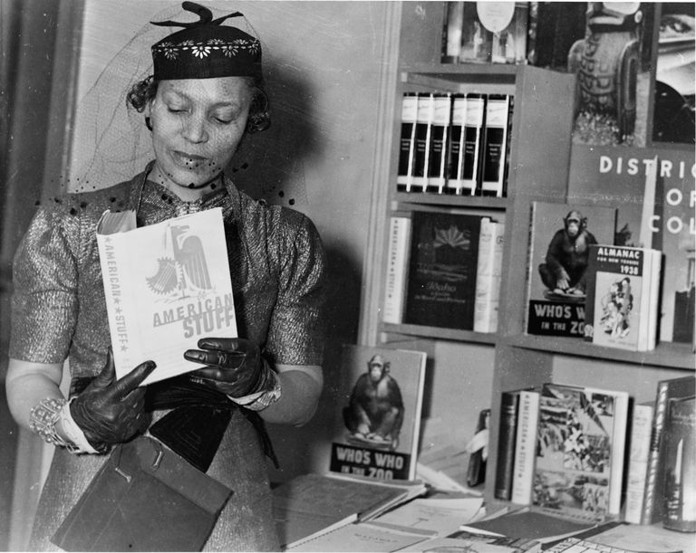 Zora Neale Hurston at a book fair, New York, circa 1937.