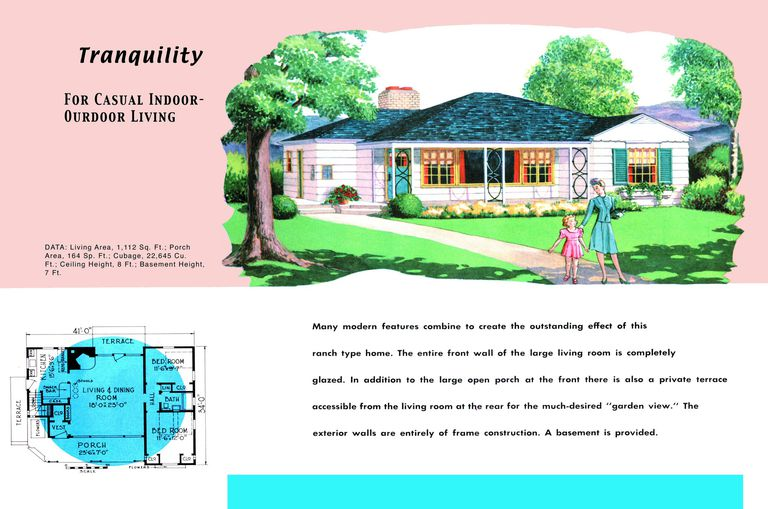 Ranch homes plans for america in the 1950s for 1950s ranch house plans