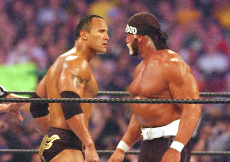 The Rock battles Hulk Hogan at WrestleMania X-8