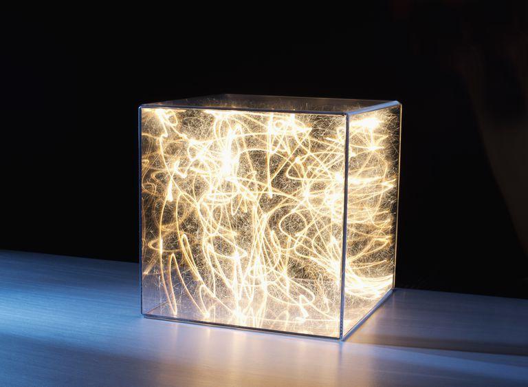 Trail of bright light in box