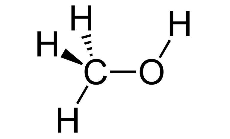 Wedge and dash rendering of methanol.
