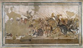 Mosaic of Battle of Issus between Alexander the Great and Darius III