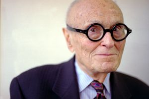 Side portrait of architect Philip Johnson in his office August 15, 1998 in New York City.