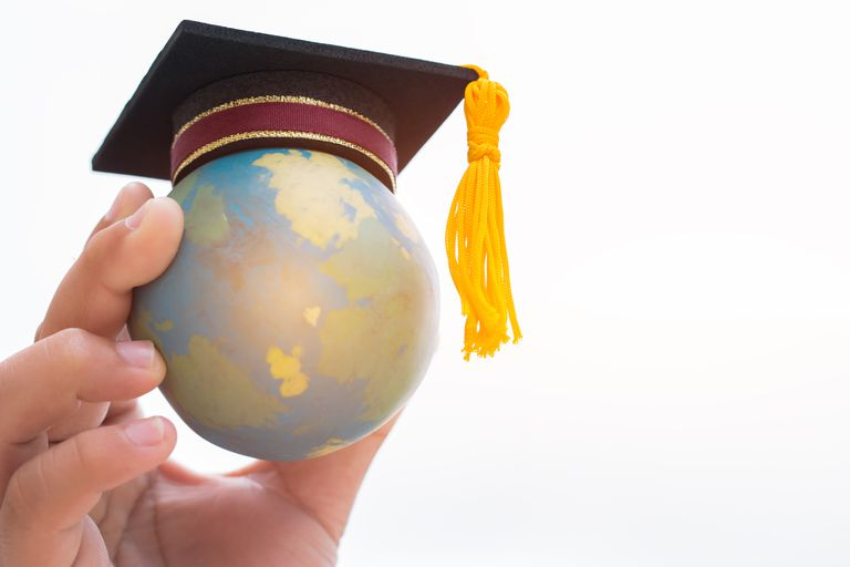 Graduation hat on top Earth globe model