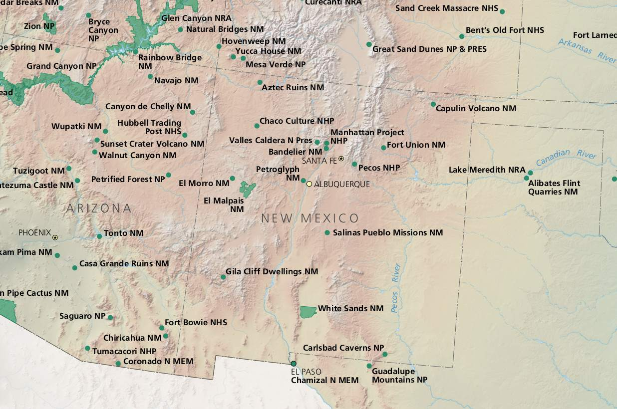 New Mexico National Parks Map