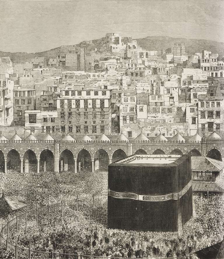 View of Mecca with the cloister of the Great Mosque and the Kaaba