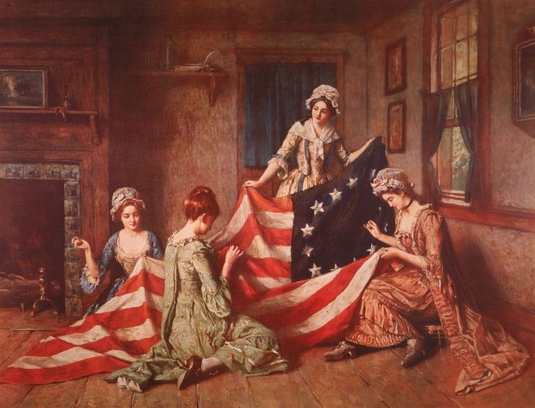 Betsy Ross and Assistants Sewing the First Flag - Painting