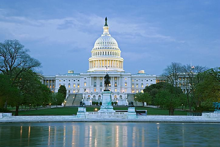 USA, Washington DC, Capitol building at dusk