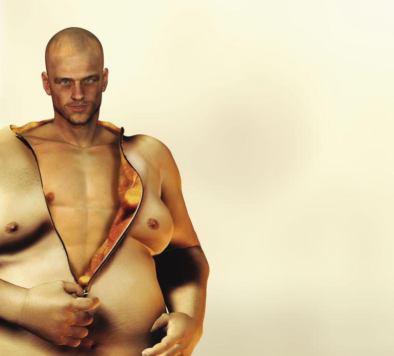 Man Removing Fat Suit