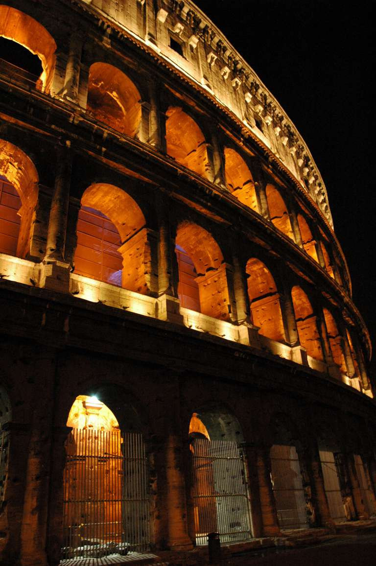 The Roman Coliseum at night